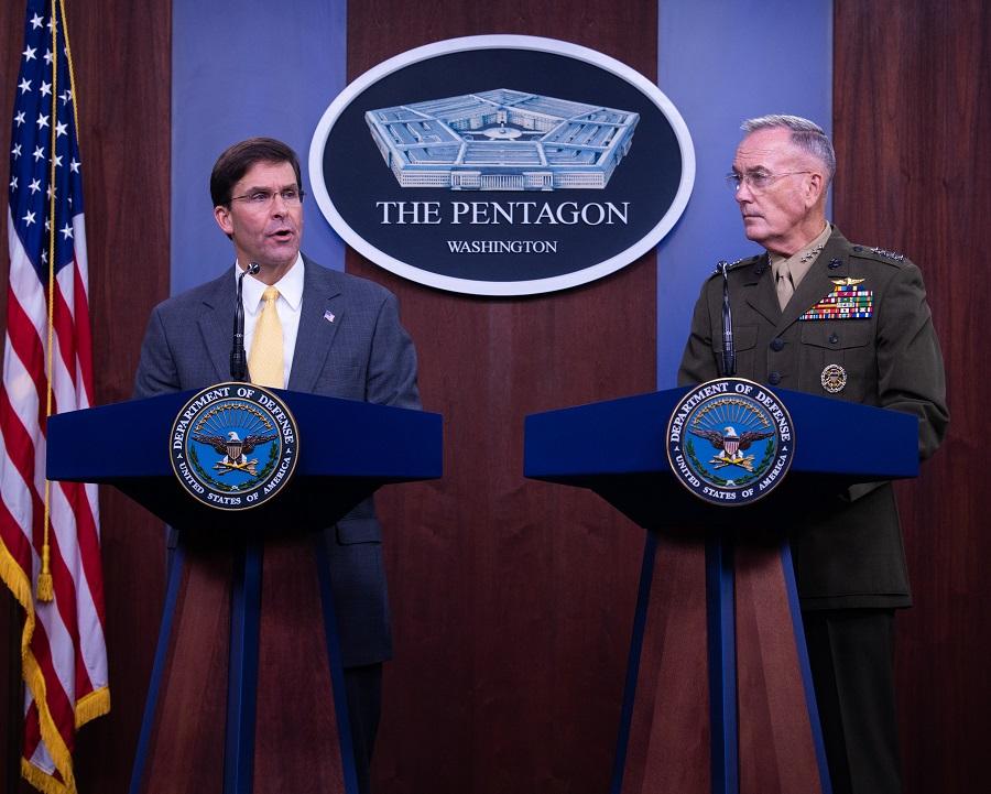 Spoločná tlačová konferencia ministra obrany USA M. Espera a predsedu Zboru náčelníkov štábov gen. J. Dunforda